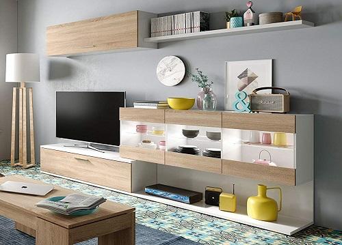mueble salon con leds habitdesign